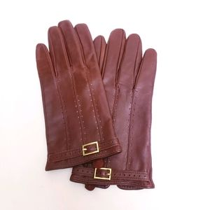 Merona Brown Leather Gloves w/ Gold Buckle